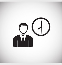 businessman with clock on white background vector image