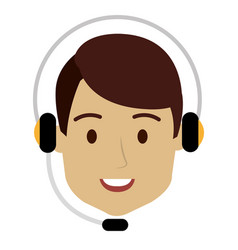 Call center agent with headset vector