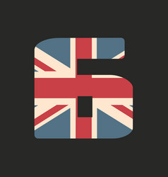 Capital number six with uk flag texture isolated vector