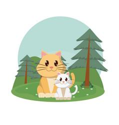 Cats family cute animals cartoons vector