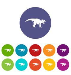 Ceratopsians dinosaur icons set flat vector