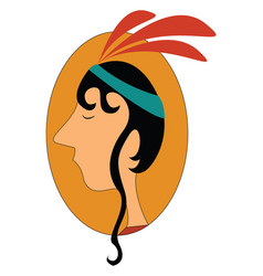 Cherokee indian profile on white background vector
