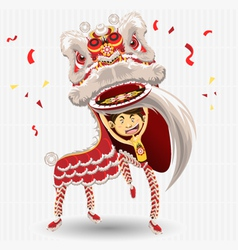 Chinese lion dancing vector