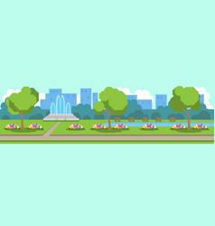 City park view green lawn flowers fountain trees vector