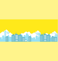 Cityscape with clouds and yellow sky background vector