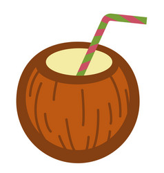 cocktail served in coconut shell with straw vector image