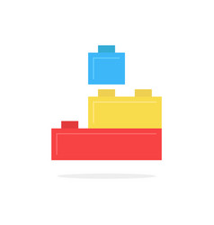 Colored building block toy with shadow vector