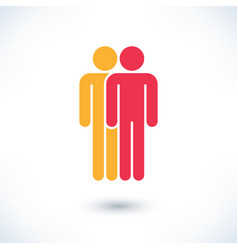 Colored two people man figure with gray shadow vector