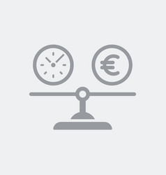 comparison between time spend and cost in euro vector image