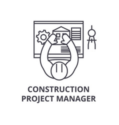Construction project manager line icon vector