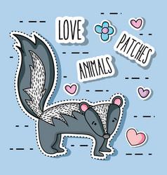 Cute skunk animal patch sticker vector