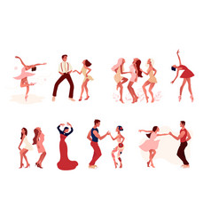 Dance studio set ballet salsa and modern vector