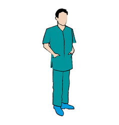 Doctor man wearing surgery suit clean vector