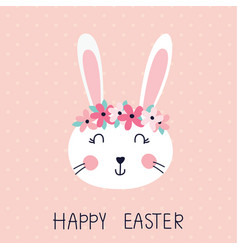 Easter with cute rabbit vector