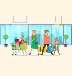 family buys lot goods woman rolls shopping vector image