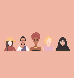 five women multi-ethnic different vector image
