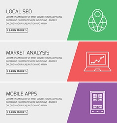 Flat design concept for seo marketing mobile apps vector image