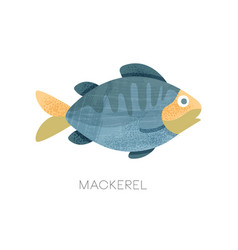 Flat icon of blue mackerel with texture vector