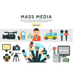 flat mass media elements set vector image