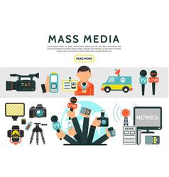 Flat mass media elements set vector