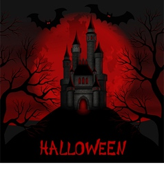 For halloween with a castle on background moon vector