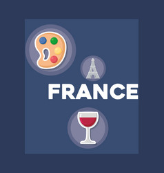 france culture card with set icons vector image