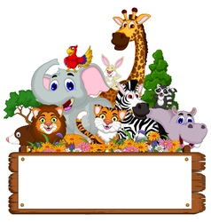 funny animal cartoon collection with blank board vector image