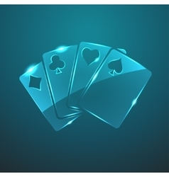 Glass game cards icon vector