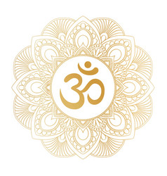 Golden aum om symbol in decorative round mandala vector