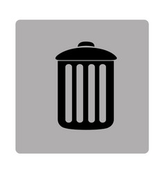 Gray square frame with silhouette metal trash bin vector