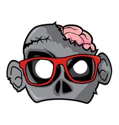 Halloween paper mask - nerd zombie vector