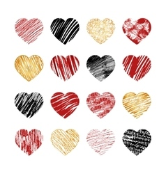 Hand drawn heart icons for valentines and vector