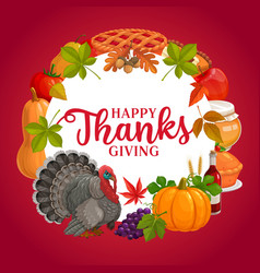 Happy thanks giving round frame greeting vector