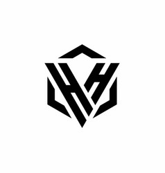 hh logo monogram with triangle and hexagon modern vector image