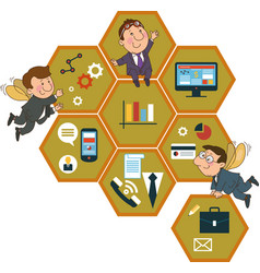 Honeycomb structure with interface icons vector