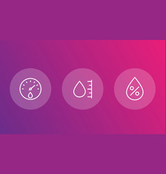 hygrometer humidity linear icons vector image