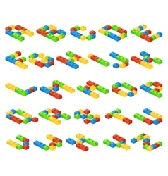 Isometric 3D alphabet letters made of vector image vector image