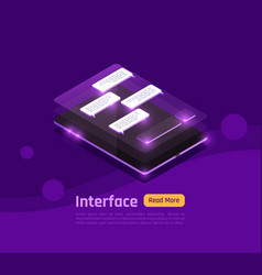 isometric people and interfaces glow banner vector image