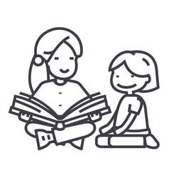 kindergarten teacherwoman reading book to girl vector image