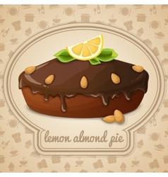 Lemon almond pie emblem vector