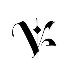 Letter v in gothic style alphabet the symbol vector