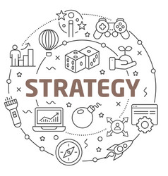 Line flat circle strategy vector