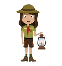little scout character with lantern icon vector image