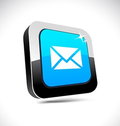 Mail 3d square button vector
