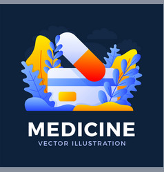 Medicine tablet with credit card stock isolated vector