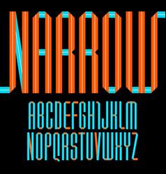 modern alphabet folded paper tape narrow font vector image