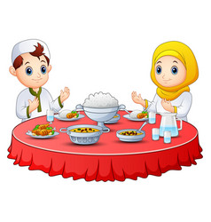 Muslim kid pray together before break fasting vector
