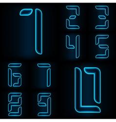 Neon numbers blue vector