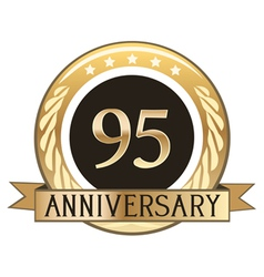 Ninety five year anniversary badge vector