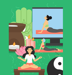 online yoga classes for women flat vector image